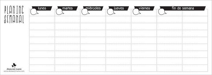 Planing semanal en blanco y negro. Imprimible gratuito, descargable en pdf
