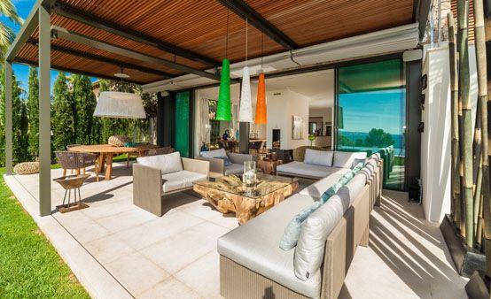 exterior, porche, decoración, diseño, lujo, vivienda, jardín