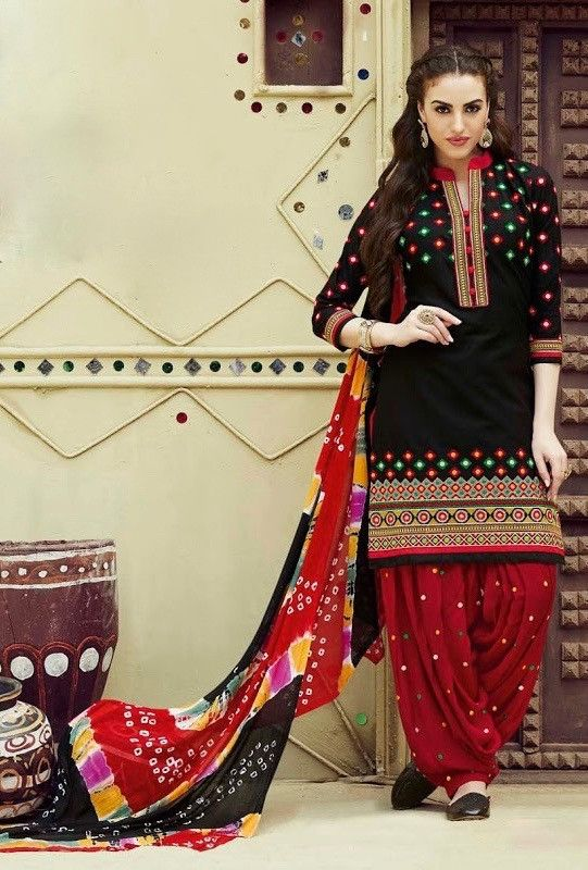 bd70dfb545 Black and red patiyala suit with jaipuri dupatta | Products in 2019 ...