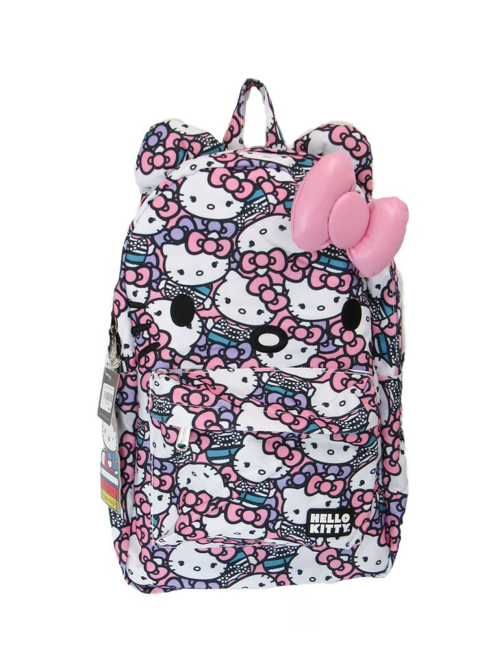 Start her school year off right with this Hello Kitty backpack! This backpack has Hello Kitty in pearls design. Single zipper pocket for storing school supplies and books. Zipper Pocket on the outside
