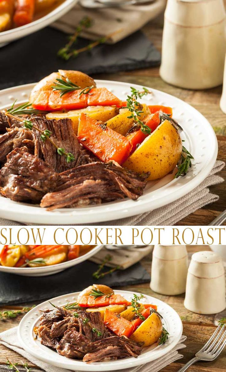 Try this Easy Slow Cooker Pot Roast. Making Pot Roast in the slow cooker is just about the easiest dinner that you can make. Learn how to make this crock pot meal in no time. It's an easy weeknight meal because you can toss all the ingredients in the slow cooker in the morning and have dinner ready when you get home.