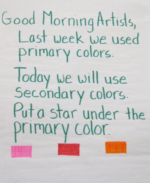 An art teacher used the morning message to assess learning from the week before, and let students know what  to expect for the day. (Photo © Hearst Elementary School, Washington, DC.)
