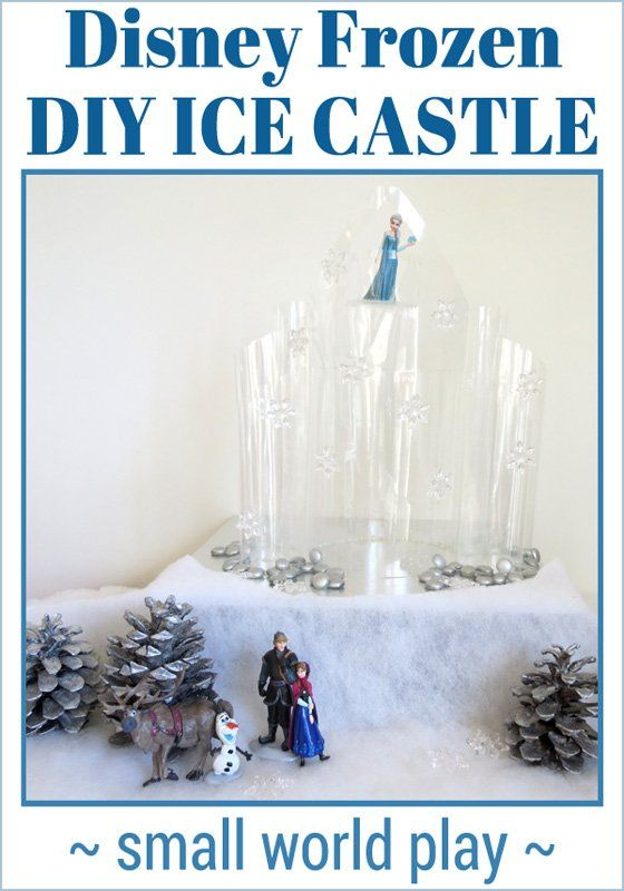 Disney Frozen Ice Castle DIY: Make your own gorgeous 'ice' castle, just like Elsa's. Fabulous small world play for Frozen fans.