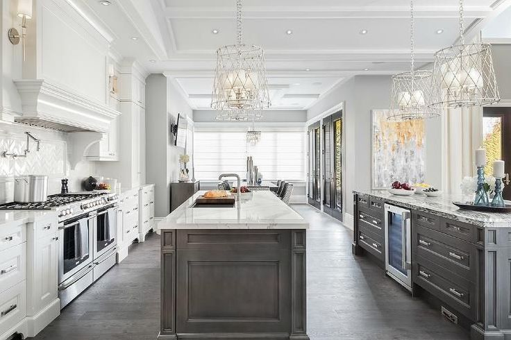 Two large kitchen islands