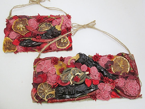 Dried Fruit & Chilli Peppers Collage Wall Hangings by CoastalKat, $32.00