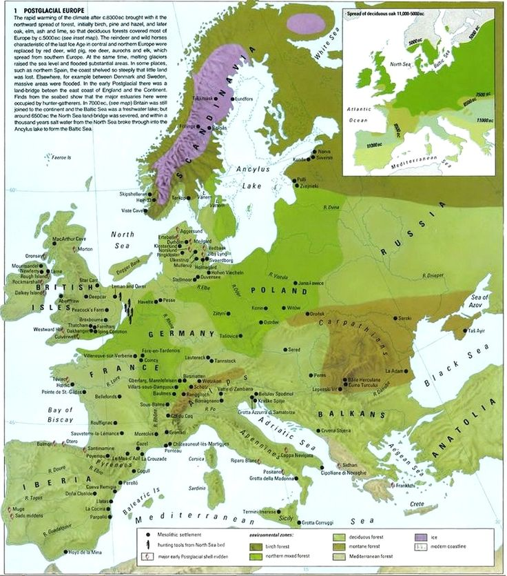 map of post glacial europe shows human settlements and environmental zones of europe 9000 years ago
