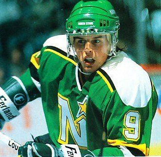 Mike Modano in a classic north stars sweater. Can't beat the classics.