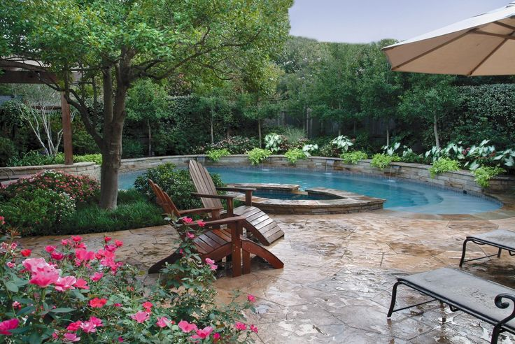 Pool with lush landscape design by bonick landscaping of for Pool design dallas texas