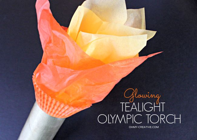 """Glowing Tea Light Olympic Torch Craft - Would be fun to do an """"opening ceremony"""" the first night after dinner!"""