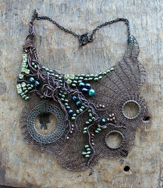 The Summer Nymph Wire Crocheted and Green Pearls Bib OOAK by #Ksemi