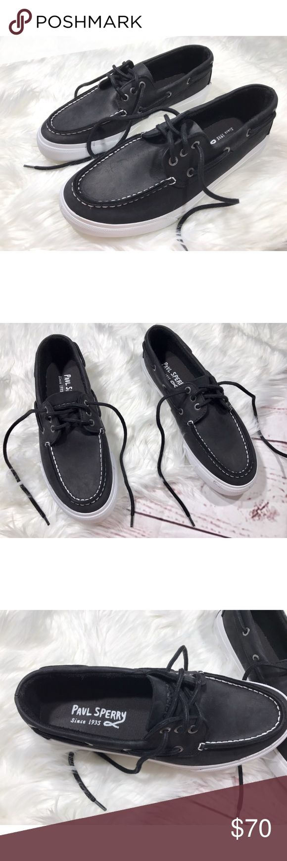 {Paul Sperry} Bermuda boat shoes black leather 9M Mens 9M, leather upper, Lace tie, a few marks on the front of one shoe (pictured) from in store. Great comfortable shoes! Sperry Shoes Boat Shoes