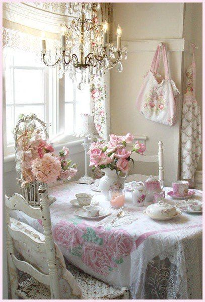 Shabby chic kitchen - love the chandelier