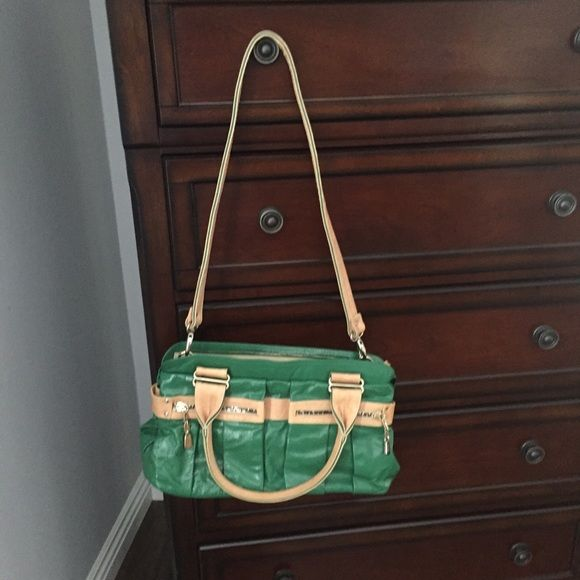 See by Chloe handbag Green and tan handbag with lots of compartments and removable shoulder strap.. Satchel style. See by Chloe Bags