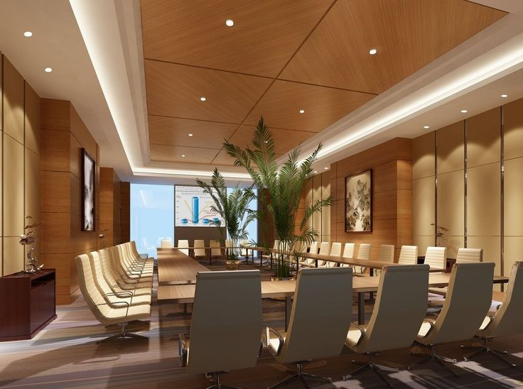 Wooden Walls And Wooden Ceiling Conference Room