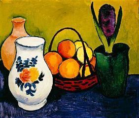 August Macke - Cruche blanche avec des fleurs et des fruits