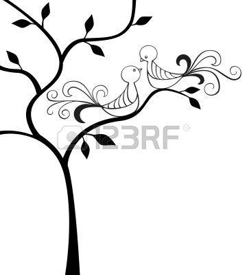 Silhouette di albero con due uccelli di amore Archivio Fotografico - 8667245