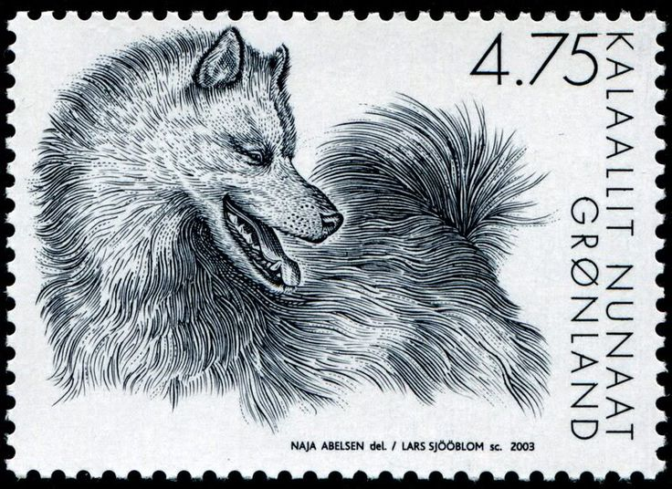 "A series of three slegdedog stamps, done by Naja Abelsen for Post Greenland. Gravure by Lars Sjöblom.  www.najaabelsen.dk. ""Gotta LOVE THOSE DOGS! - Stamp Community Forum - Page 6"""