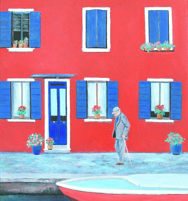 Red House on the Island of Burano, Venice.  #streetscene #naiveart