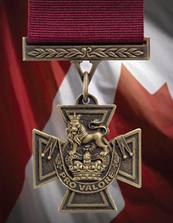 The Victoria Cross is a military decoration of Canada. Created in 1993 it is the highest honour in the Canadian honours system, taking precedence over all other orders, decorations, and medals. It is awarded by either the Canadian monarch or his or her viceregal representative, the Governor General of Canada, to any member of the Canadian Forces or allies serving under or with Canadian military command for extraordinary valour and devotion to duty while facing hostile forces.