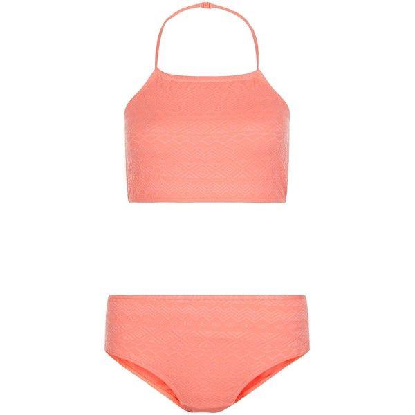 New Look Teens Pink Aztec Print Textured Bikini Set (150 MXN) ❤ liked on Polyvore featuring swimwear, bikinis, candy pink, bikini swimwear, aztec print bikini, aztec bikini, swim suit tops and bikini top