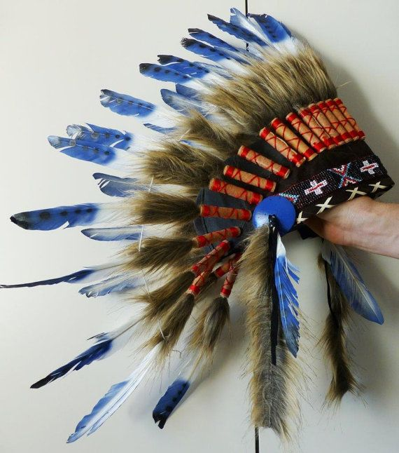 For Kid / Children: three colors blue Chief indian Feather Headdress / native american Warbonnet for the little ones