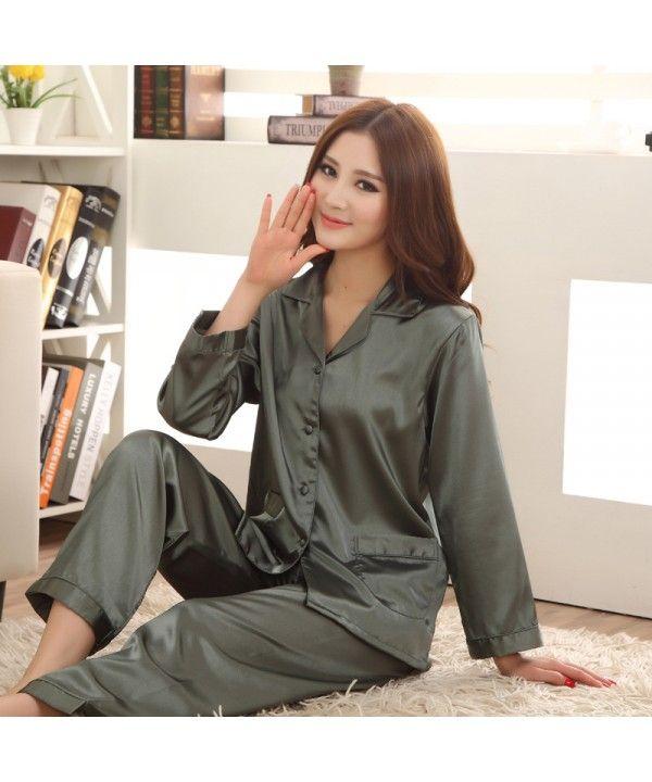 f5fa4d03e3 ArmyGreen women s long sleeved ice silk pajama set...