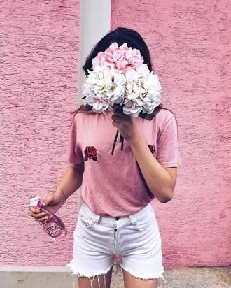 $25 Cool Cute Pastel Summer Pink Plain T-Shirt With Red Rose Flower Floral Embroidery And Summer White Denim Shorts