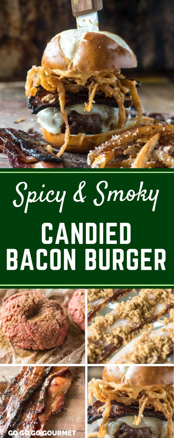 This Spicy and Smoky Candied Bacon Burger is one of the best cheeseburger recipes! With juicy burger patties, melty cheese and crispy onion straws, this is a burger that can't be beat! #gogogogourmet #spicysmokycandiedbaconburger #baconburger #candiedbacon via @gogogogourmet