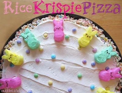 easter rice krispie treats pizza w/ peeps