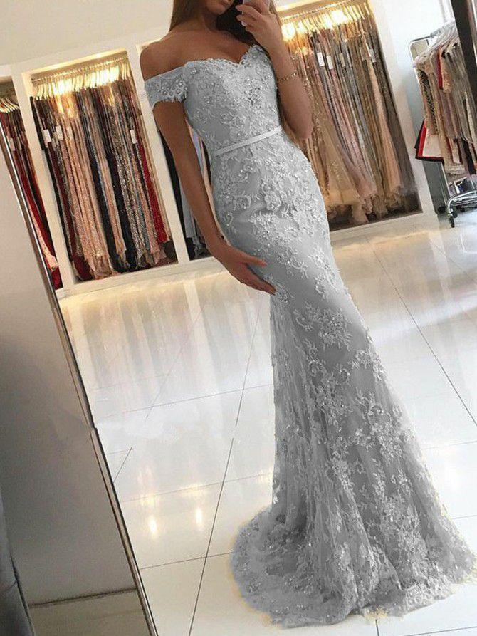 Meerjungfrau-Linie/Mermaid-Stil Carmen-Ausschnitt bodenlang Kurz Tülle Abendkleider # AM591