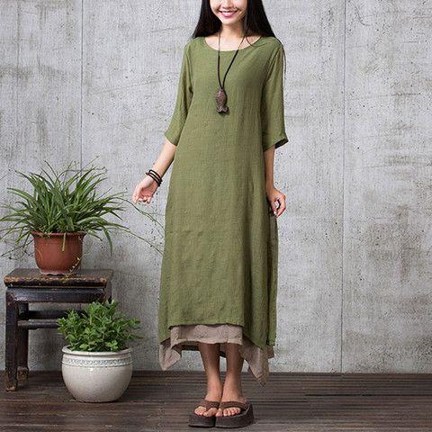 Green Long Sleeve Maxi Linen Dress
