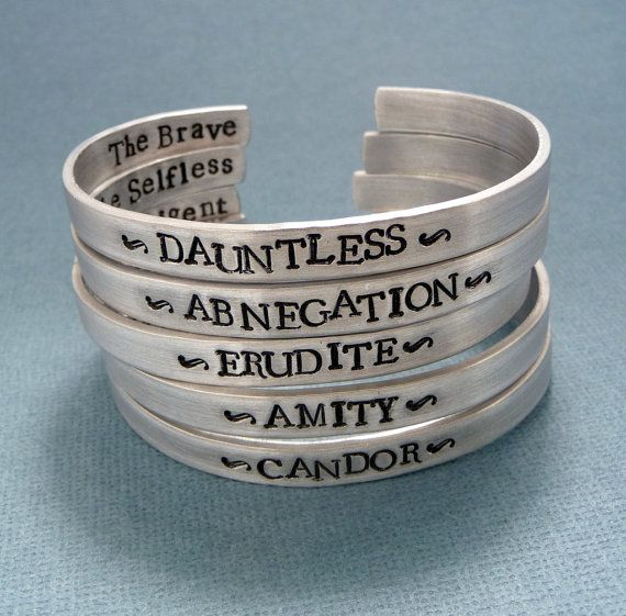 Divergent Inspired - Faction - Divergent, Dauntless, Abnegation, Amity, Candor or Erudite -  CHOOSE ONE Double Sided Aluminum Bracelet on Etsy, $20.95
