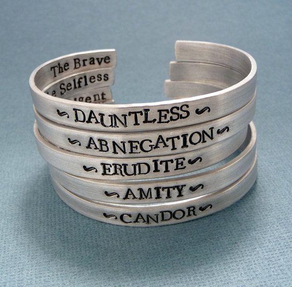 Divergent Inspired - Faction - Divergent, Dauntless, Abnegation, Amity, Candor or Erudite -  CHOOSE ONE Double Sided Aluminum Bracelet on Etsy, $20.95