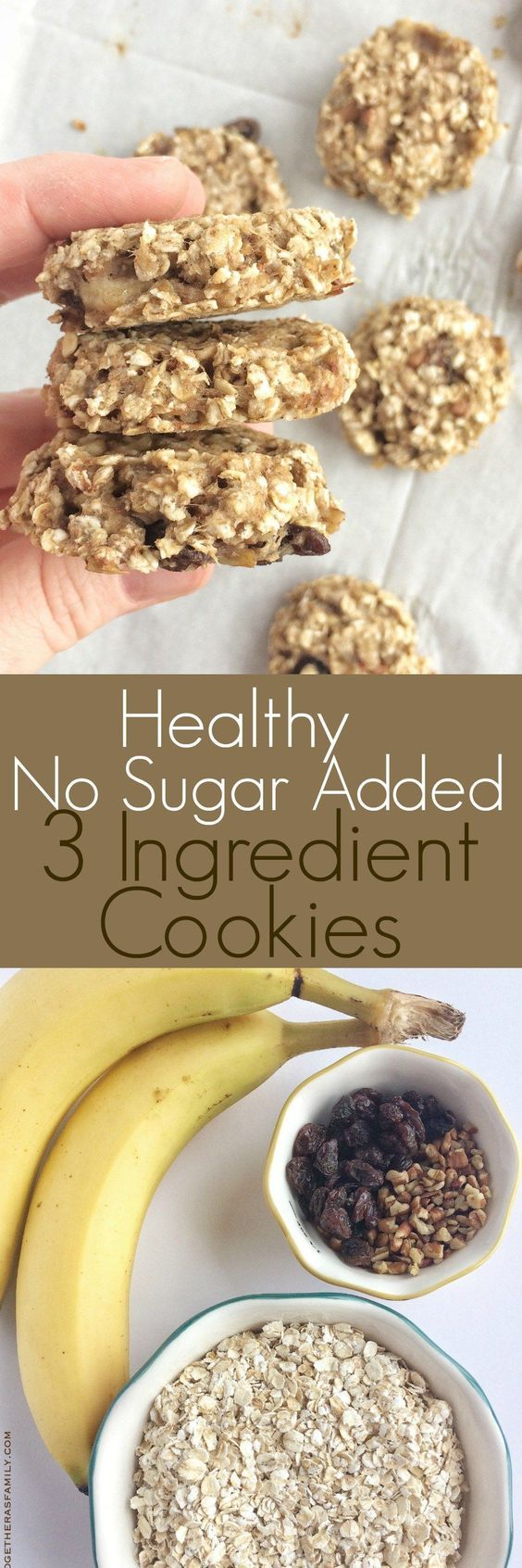 """Try these healthy, no sugar added 3 ingredient cookies to fix your sweet tooth and need for a cookie, while still eating healthy! So simple and fast to make. I've seen """"healthy"""" cookies all over pinterest and I always roll my eyes. I mean, really?!? A healthy cookie. Well, I tried making my own and …"""