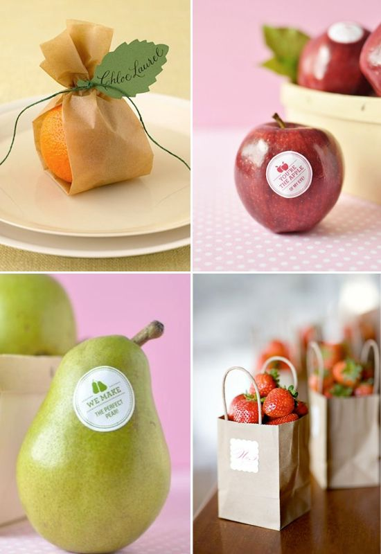 Fruit Wedding Favor Ideas - the orange is pretty appropriate - add a personalized sticker?