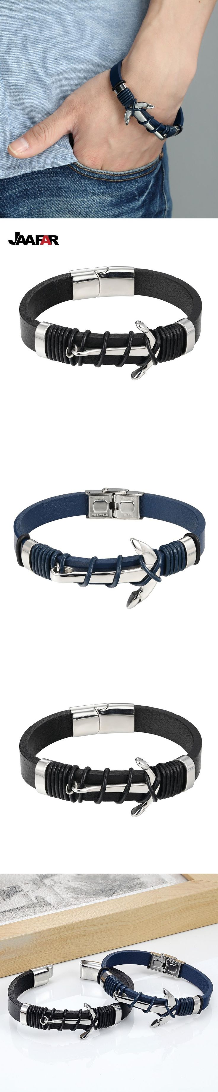 JAAFAR Fashion Jewelry high quality Stainless Steel Anchor Bracelet Men Leather Bracelet for Women&Men friendship bracelets