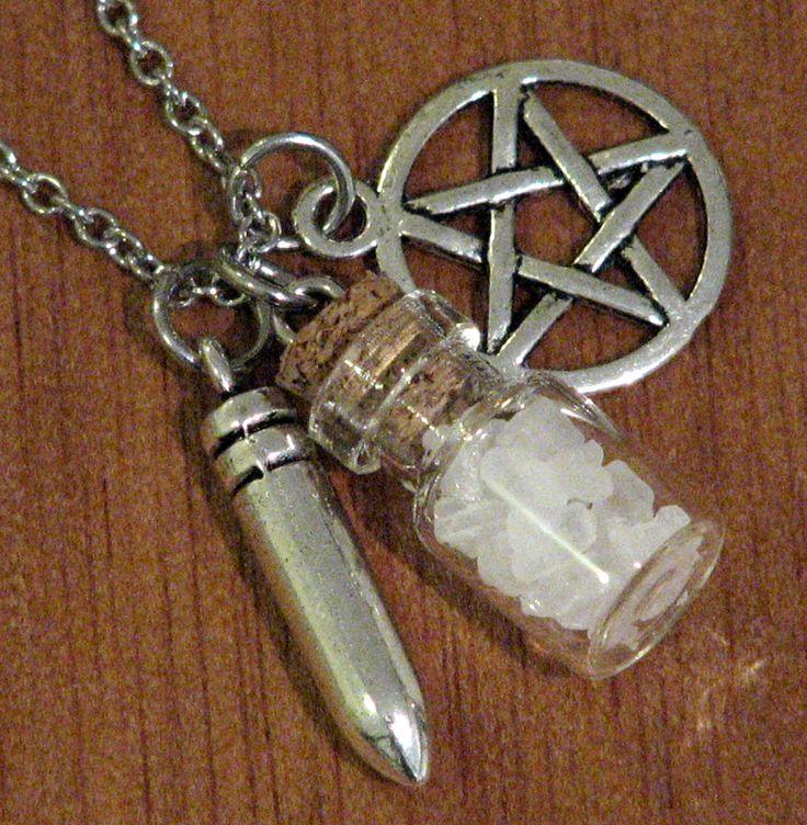 Supernatural Protection Necklace Pentagram Silver Bullet Salt Bottle Charm