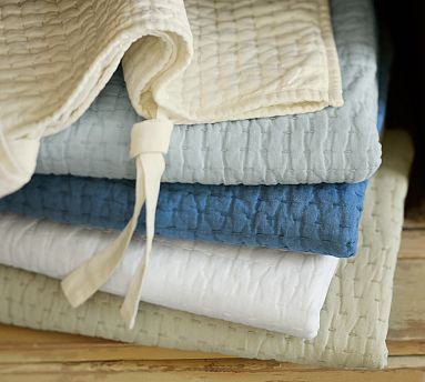 Pick Stitch Quilt Sham Potterybarn Comes In Cranberry And Deep Blue