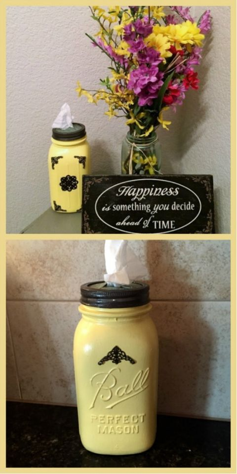 Fantastic DIY Mason Jar Tissue Holder that you can make for yourself or give as a give. Customize the color for your home! at The Happy Housewife