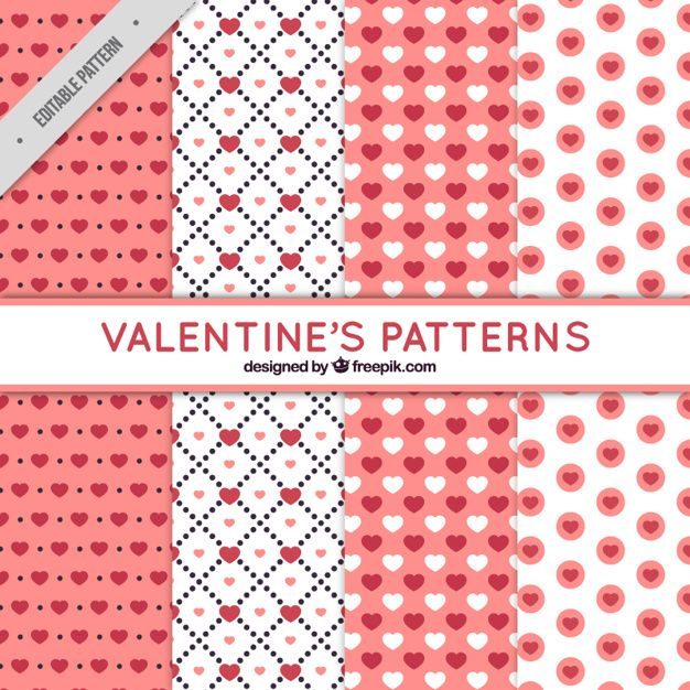 coleção fixa de rosa e branco padrões para Dia dos Namorados Vetor grátis