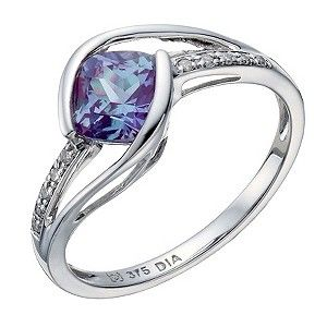 Ernest Jones - 9ct white gold created alexandrite & diamond ring