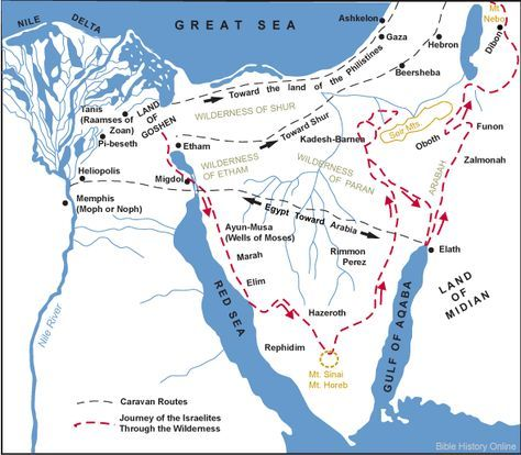 Map of the route Moses and the Israelites took during the Exodus from Egypt
