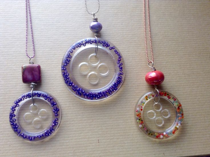 Necklaces with handmade liquid buttons!!!