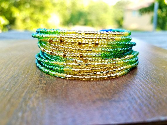 Seed bead bracelet Customizable Gift set Green Ombre