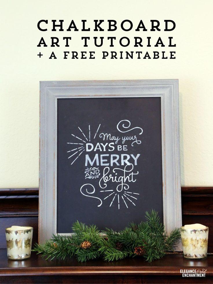 Chalkboard DIY art tutorial + a free Christmas printable from Elegance & Enchantment