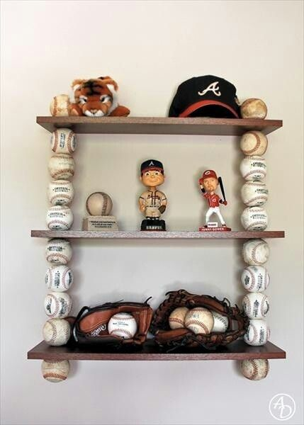 *Baseballs repurposed into a wall shelf. Great for boys or girls sports theme bedroom.