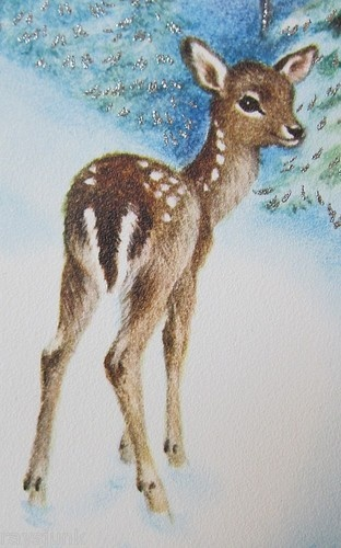 Vintage Christmas  Fawn in Woods Stars in Sky