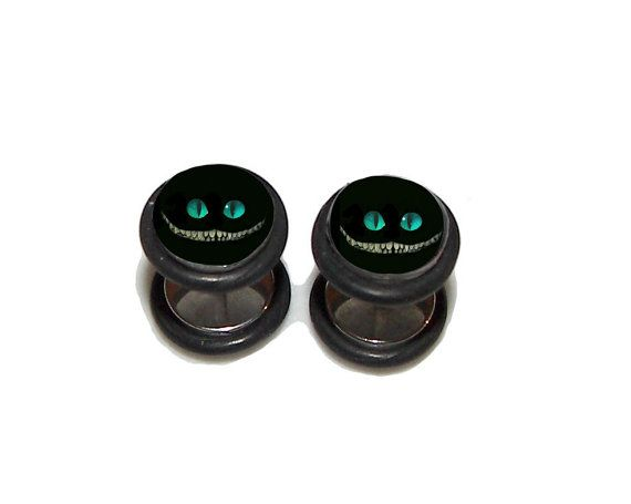 Cheshire Grin Fake Plugs / Post Earrings 1 Pair 2 by GrudgePlugs