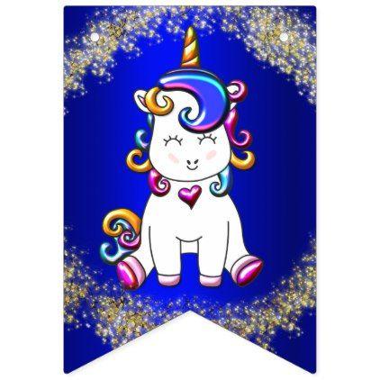 Colorful Glitter Unicorns Blue Bunting Flags - unicorn birthday diy gift idea present unicorns customize