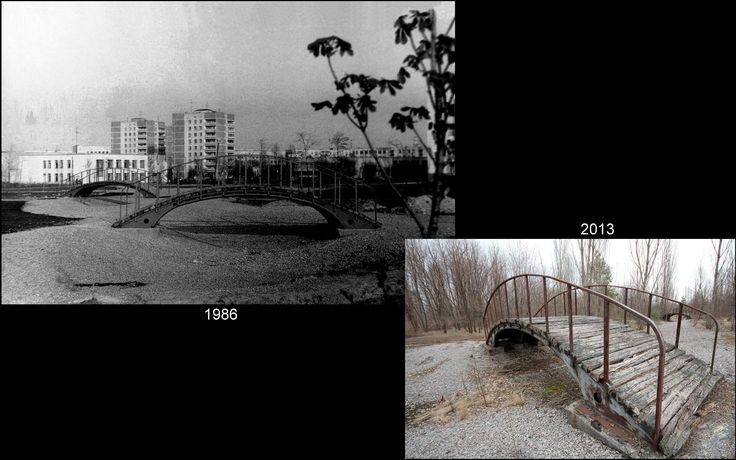 Pripyat 1986 Former city park through which flowed brook is dead. Just dilapidated bridge suggests that once passed through mothers with prams and their children.